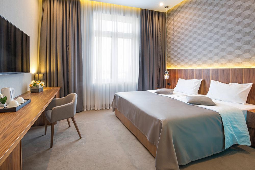 Hotel bedroom interior in the morning